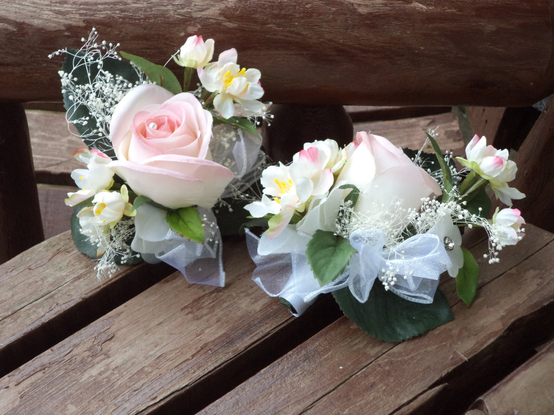 Blush Pink Silk Pin On Or Wrist Corsage Wedding Corsage Etsy