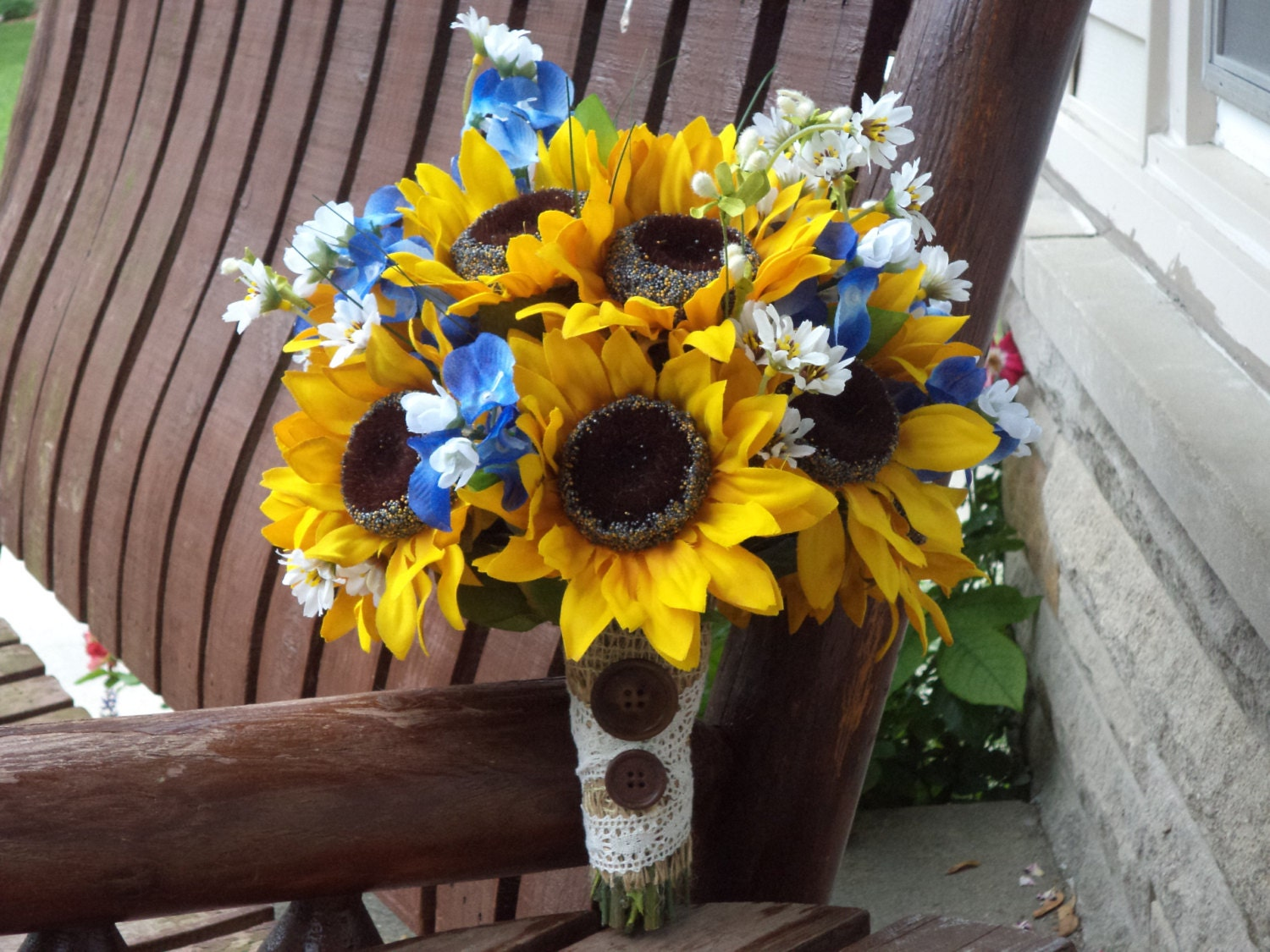 Sunflower Bridal Bouquet With Texas Bluebonnets Country Etsy