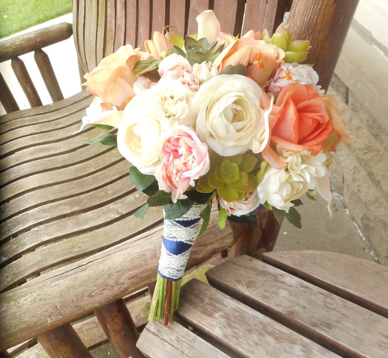 Coral Pink and Succulents Beach Wedding Bouquet  Destination Wedding  Silk Wedding Flowers  Beach Wedding Bouquet  Rustic Bridal Bouquet