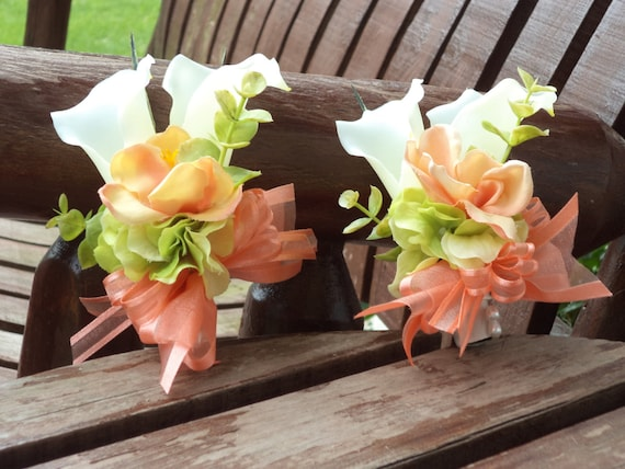 Beach Wedding Boutonniere  Destination Wedding Boutonniere  Tropical Coral Real Touch Silk Calla Lily Boutonniere  Prom Flowers