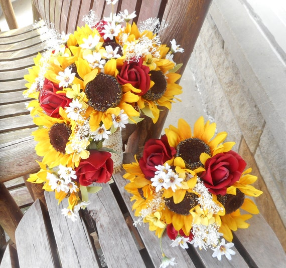 Sonnenblume Kaskadierende Seide Brautstrauss Mit Real Touch Etsy