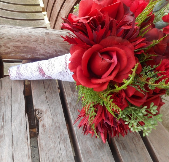 Apfel Rote Rose Rustikal Hochzeitsstrauss Red Rose Etsy