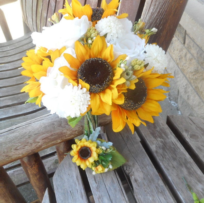 Sunflower Bridal Bouquet With White Roses Country Wedding Etsy