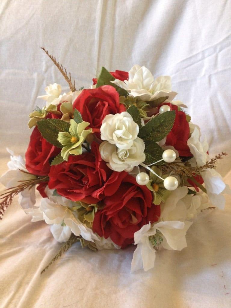 17 pc Winter rote Rose und Weihnachtsstern Brautstrauß Seide / | Etsy