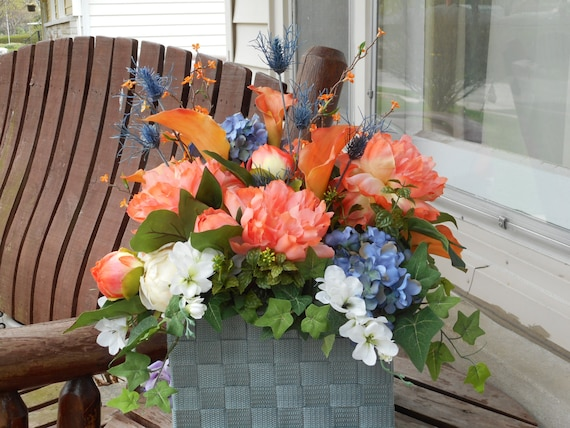 Coral and antique blue silk flower table arrangement or altar etsy mightylinksfo
