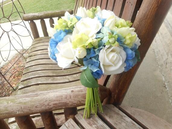 Hochzeitsstrauss Blau Blau Brautstrauss Blau Grun Weisse Etsy