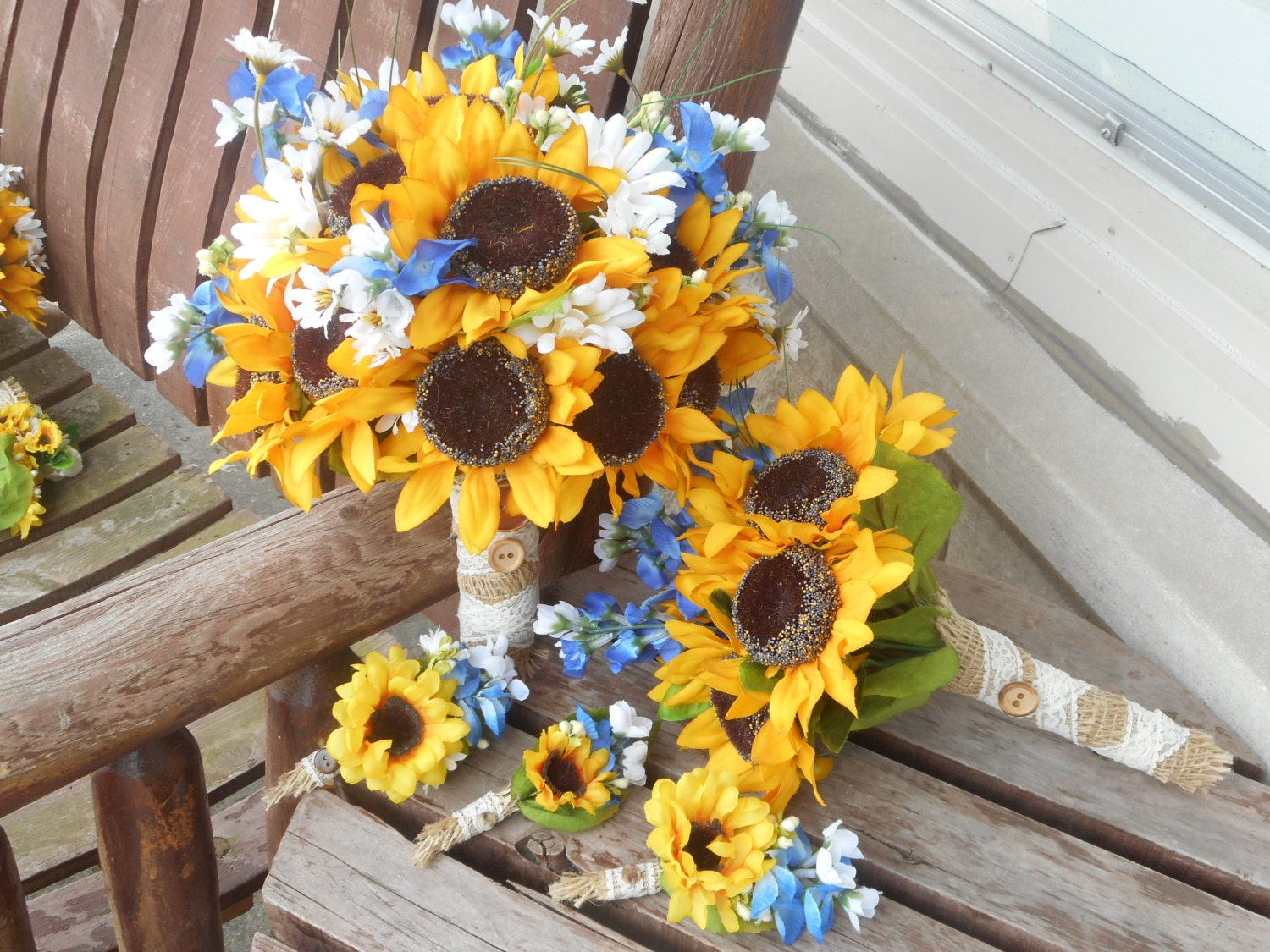 12 Pc Sunflowers And Texas Bluebonnets Rustic Wedding Etsy