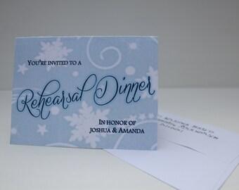 Twenty Custom Winter Wedding Rehearsal Dinner Invitations w/ Envelopes