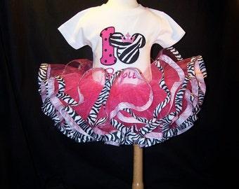 Ribbon Edge Tutu Set with Embroidered T shirt, Ribbon edged Tutu Sets for Girls, Customizable Birthday Tutu Sets, Birthday Themed Tutu Sets