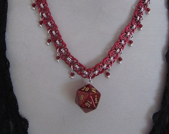 Red Glitter d20 Chainmail Choker
