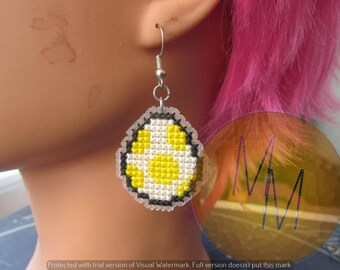 CLEARANCE Yoshi Egg Cross Stitch Earrings - Yellow