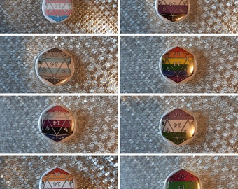 "Pride Flag d20 - 1.25"" pinback button"