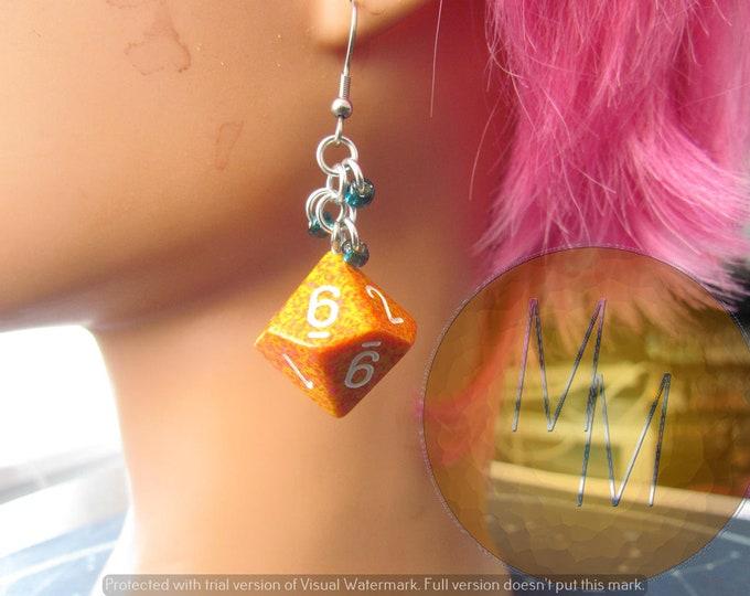 Orange d10 Chainmail Earrings STAINLESS STEEL HOOKS