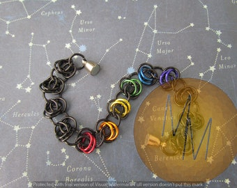 Rainbow & Black BARREL WEAVE Chainmail Bracelet Lightweight Hypoallergenic