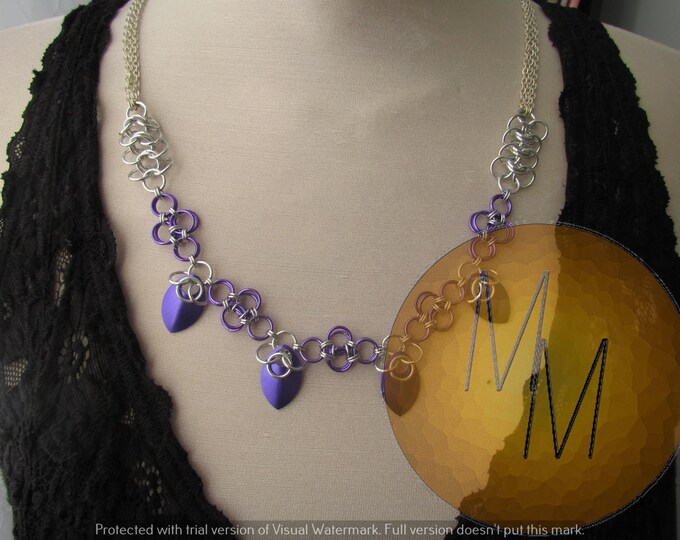 CLEARANCE - Purple & Silver Multi-Mail Necklace Set
