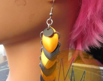 Orange & Black Halloween Scalemail Earrings STAINLESS STEEL HOOKS