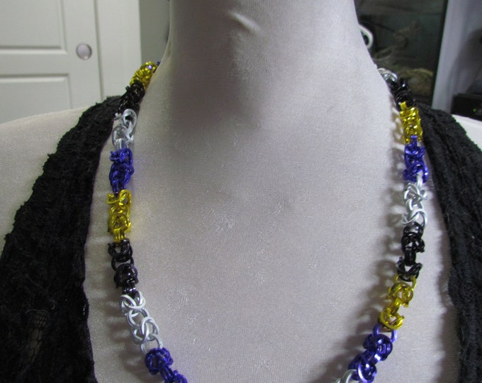 Pride Flag Byzantine Chain Necklace NONBINARY