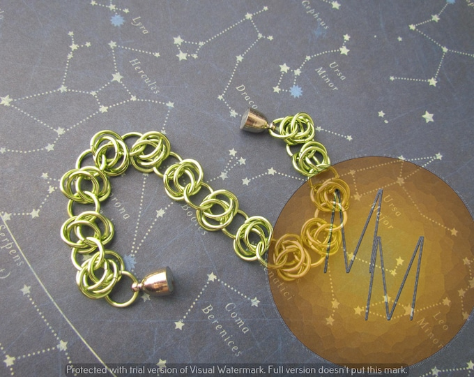 CLEARANCE - Lime Green BARREL WEAVE Chainmail Bracelet Lightweight Hypoallergenic