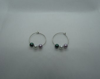 Genderqueer Flag Glass Pearl Hoops
