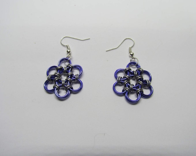 CLEARANCE - Chainmail Daisy Earrings - Purple