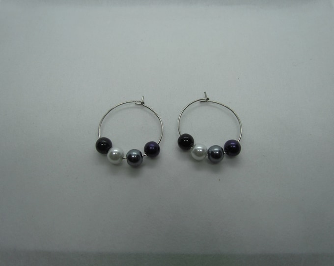 Asexual Ace Flag Glass Pearl Hoops