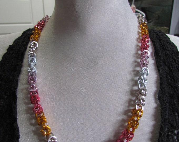Pride Flag Byzantine Chain Necklace LESBIAN