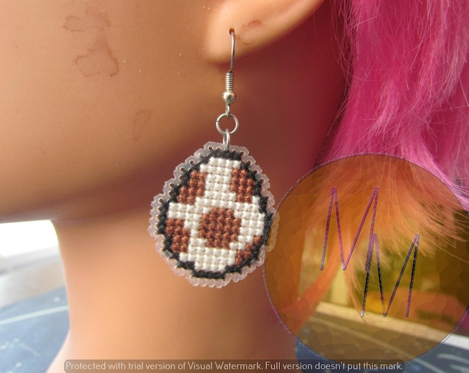 CLEARANCE Yoshi Egg Cross Stitch Earrings - Brown