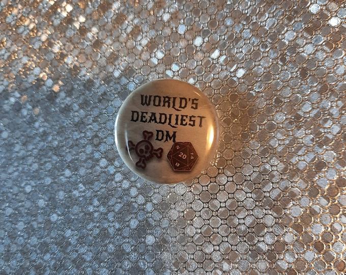 """Murder Hobo/Deadliest DM - 1.25"""" pinback button"""