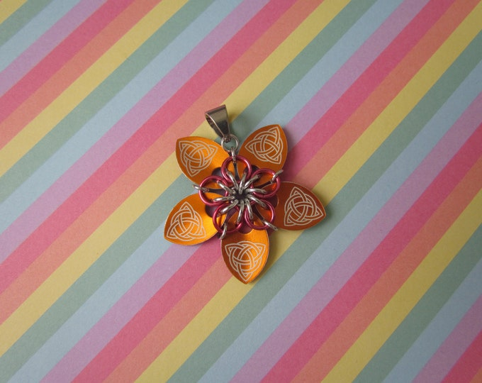 Scale Flower Pendant (Orange Celtic Knot/Dark Rose REVERSIBLE)