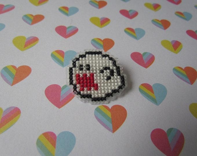 Super Mario Boo Cross Stitch Pin