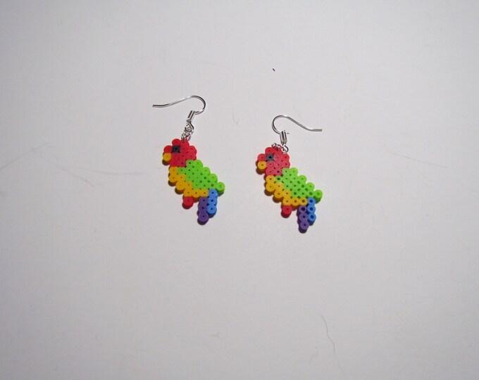 Mini Perler Parrot Earrings