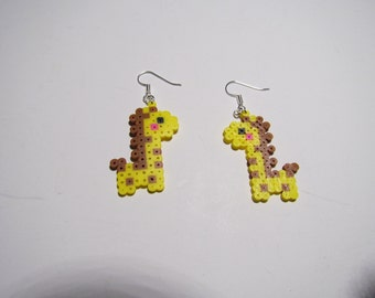 Mini Perler Giraffe Earrings