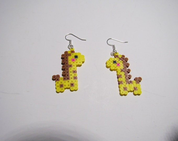 Mini Perler Giraffe Earrings