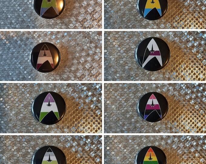 """Pride Flag Delta Shield - 1.25"""" pinback button"""
