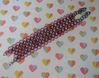 Dragonfruit Pink & Black Cuff Bracelet