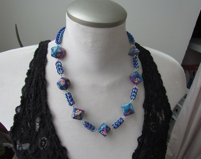 Chainmail Dice Necklace - Blue & Teal
