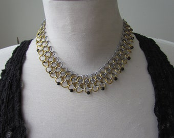 Gold & Black Ice Chainmail Choker