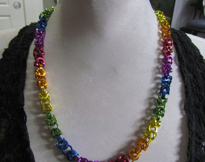 Pride Flag Byzantine Chain Necklace RAINBOW