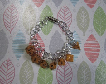 MINI DICE BRACELET Orange Glitter w/Black Numbers