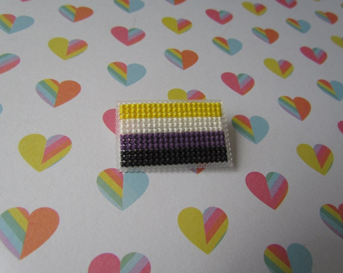 Cross Stitched Pride Flag Pins - NONBINARY