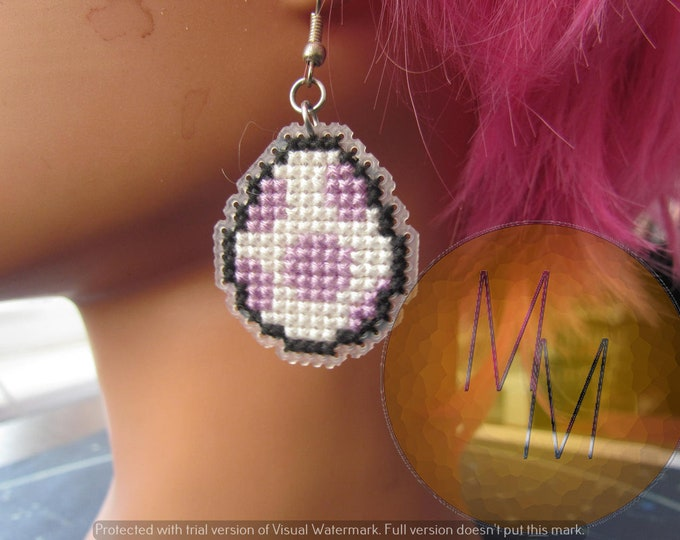 CLEARANCE Yoshi Egg Cross Stitch Earrings - Lavender