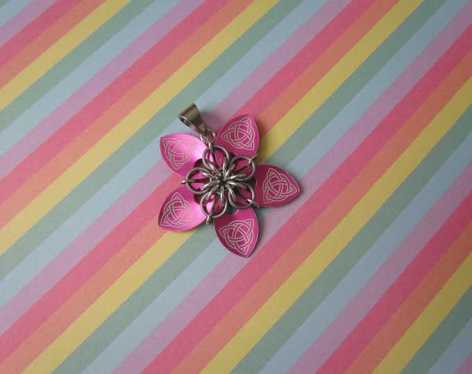 Scale Flower Pendant (Pink Celtic Knot/Matte Black Ice REVERSIBLE)