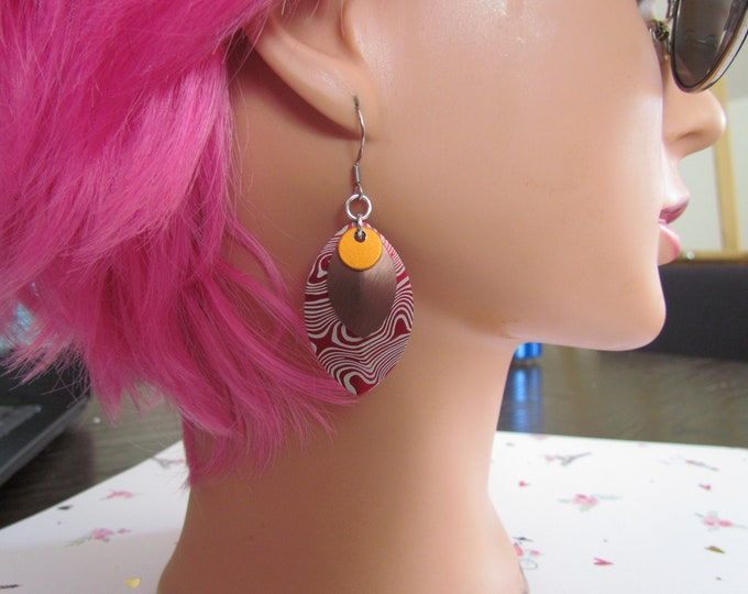 Triple Layer Scalemail Earrings (Orange/Bronze/Red Damascus)
