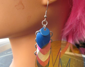 Trans Flag Scalemail Earrings STAINLESS STEEL HOOKS