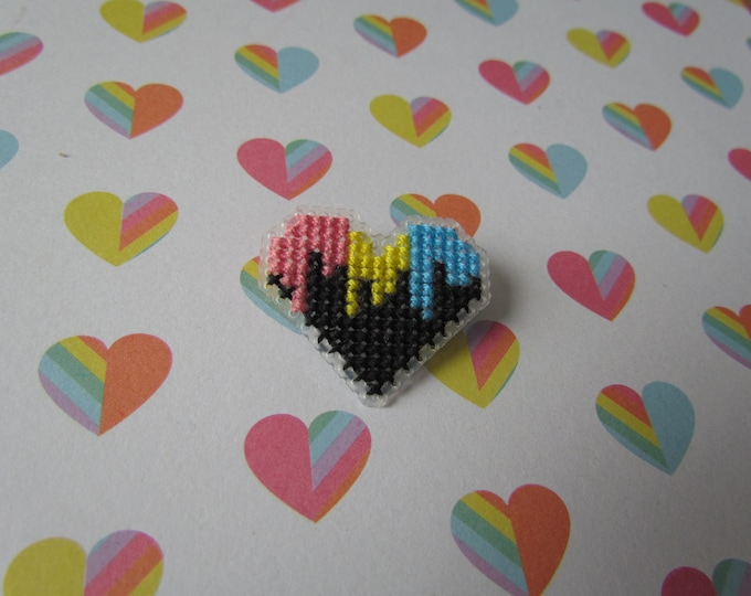 Cross Stitched Pride Flag Pins - PANSEXUAL DRIPPY HEART