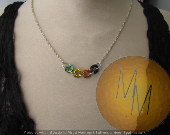 Chainmail Rosette Necklace Pride Flag Aro Aromantic Pride