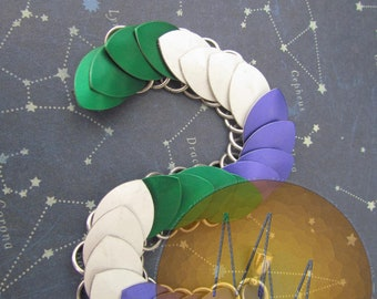 GENDERQUEER FLAG Scalemail Bracelet Genderqueer Pride Colours