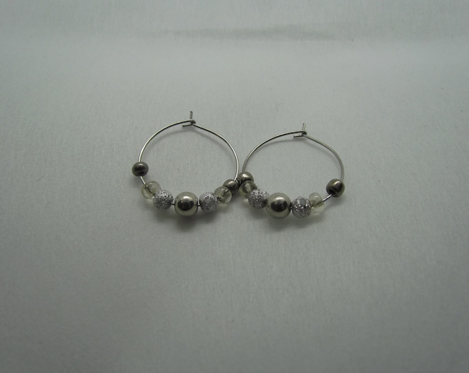 Stainless Steel Hoops (Silver Beads)