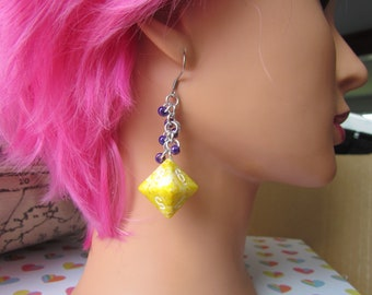 Yellow Speckled d8 Chainmail Earrings STAINLESS STEEL HOOKS