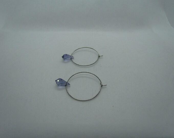 Stainless Steel Hoops (Sky Blue Swarovski Teardrops)